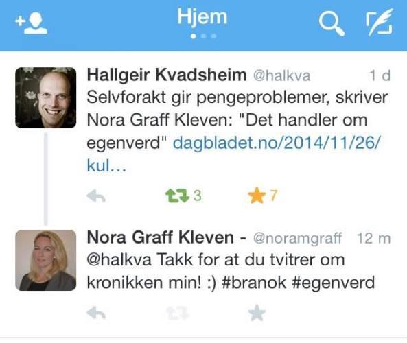 Hallgeir Kvadsheim tweet #egenverd Nora Graff Kleven