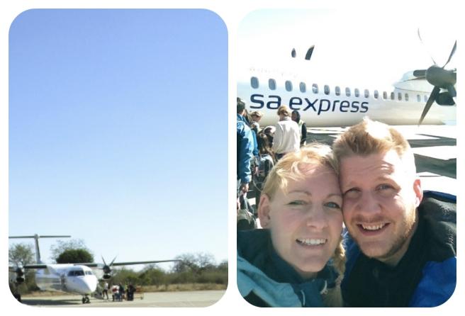 Fornøyde superturister på  Hoedspruit flyplass - Anders og Nora Graff Kleven.